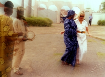 Dancing in the King's compound, Ogbomoso, where the first missionaries were received